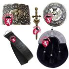 HS Highland Kilt Outfit Full Dress Sporran Bovine Thistle Belt,Buckle,Pin,Brooch