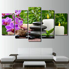 Home Decor Spa Orchid Flowers Candles Stone Canvas Prints Painting Wall Art 5PCS