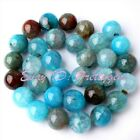 """Smooth Round Cracked Multicolor Agate Gemstone For DIY Jewelry Making Beads 15"""""""