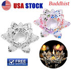 Crystal Lotus Flower Candle Glass Tealight Clear T picture