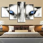 Framed Home Decor Animals Wolf Blue Eyes Canvas Prints Painting Wall Art 5PCS