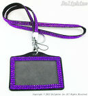 Bling Crystal Rhinestone Neck Lanyard with Horizontal Photo ID badge holder
