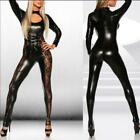 Black Women PVC Leather Wet Look Bodysuit Catsuit Costume Clubwear Lace Jumpsuit
