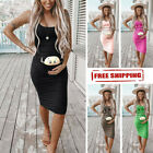 Women Fashion Cute Baby Printed Pregnant Summer Sleeveless Party Maternity Dress