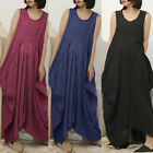 S-5XL ZANZEA Women Sleeveless Summer Tank Dress Casual Long Shirt Dress Sundress