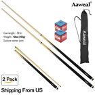 """58"""" 2-Piece Sport Pool Cues Billiard House Bar Cue Sticks Set With Tips"""