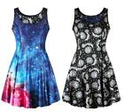 Woman Sleeveless dress Galaxy Sun Moon Stars Printed Two Used Pleated dress S-XL