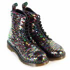 Dr Martens Women's 1460 Pascal Sequin Lace Up Boot Rainbow Multi / Silver