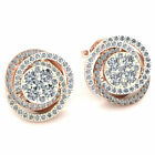 Genuine 0.9ct Round Cut Diamond Ladies Trinity Knot Earrings Solid 10K Gold