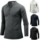 Mens Slim Fit Stylish Henley V Neck Long Sleeve Tee T-shirt Top Blouse W03 S/M