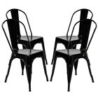 4pcs Industrial Style Dining Side Chair Arm Chairs Stackable Stool High Backrest