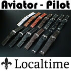 Pilot Aviator Style Watch Strap Smooth, Buffalo or Riveted Calf Leather 18-24mm