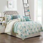 Chezmoi Collection  7-Piece Ivory Teal Floral Embroidered Comforter Set image