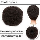Puff Ponytail Bun Clip In As Human Hair Extensions Afro Black Updo Thick Chignon