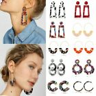 Womens Boho Geometric Drop Dangle Hook Acrylic Resin Ear Stud Earrings Jewellery