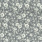 100% Cotton Poplin Fabric Rose & Hubble White Blooming Flowers & Vines Floral