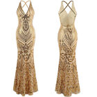 Vintage Dresses Art-Deco Sequin Long Prom Dresses Formal Evening Party Gown 381