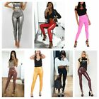 Women Vinyl PVC Disco Elasticated Leggings Ladies Wet Look Shiny High Waist Pant for sale  Shipping to Canada