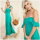 Green Smocked Pockets On Off Shoulder Maxi Dress Casual Womens S M L