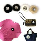 Bling Silver Crystal Rhinestone Decor Round Real Mink Fur Magnetic Brooch Pin