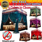 Four 4 post functional bed canopy mosquito net Twin Queen California King+Frame image