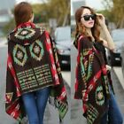US Women Wool Blend Bohemian Shawl Scarf Collar Plaid Cape Cloak Poncho Jacket