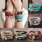 4Pcs Multilayer Natural Stone Bracelet Crystal Beaded Charm Bangle Jewelry Gifts image