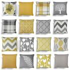 """Grey Ochre Mustard Cushion Cover Collection 17""""/18"""" Covers Filled Cushions"""
