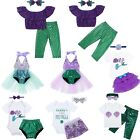 Toddler Girls Little Mermaid Clothes Outfits Kids Baby Costume Headband Outfits