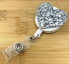 Bling Love Heart Glitter Retractable ID Badge Reel Holder with Alligator Clip