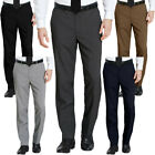Mens Belted Formal Smart Casual Office Trousers Business Work Dress Pants Wai...