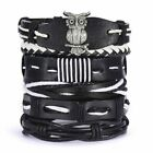 6pcs/set Multilayer Leather Bracelet Handmade Men Women Wristband Bangle Gifts