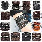 6pcs/set Multilayer Leather Bracelet Handmade Men Women Wristband Bangle Gifts image