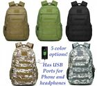 Heavy Duty Canvas Laptop Backpack Tactical Military Style Travel Bag USB Ports