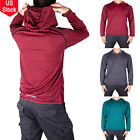 Mens Gym Long Sleeve Shirts Hooded Muscle Tops Hoodie Casual Basic T-shirt NEW image