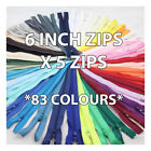 6 INCH CLOSED END ZIP  NYLON No.3  *83* COLOURS ZIPPER SEWING  CUSHIONS