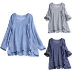 Kyпить Women Check V-Neck Roll Up Long Sleeve Blouse Top Casual Loose T Shirt Plus Size на еВаy.соm