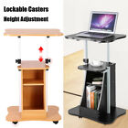 Mobile Rolling Laptop Cart Table Computer Stand Adjustable Desk for Home Office