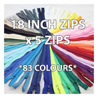 18 INCH No.3 NYLON CLOSED END ZIP *83 COLOURS* ZIPPER SEWING DRESSMAKING