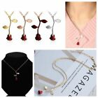 Plated Women Handmade Jewelry Necklace Red Rose Flower Pendant Valentine Gifts image