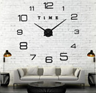 Stick-on Wall Clock Diy Large Decal 3d Stickers Modern Design Black Gold Silver