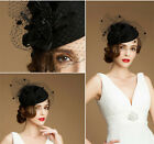 Black/Red/Pink Lace Women's Wedding Party Derby Hat Veil Prom Evening Formal Cap