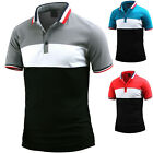 Mens Triple Color Match Short Sleeve Pique Polo Casual Collar T-Shirts W23 S-L
