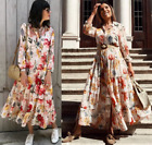 ZARA CHIFFON FLOWING FLOWY MAXI LONG ROMANTIC FLORAL PRINT SHIRT DRESS 2800/985
