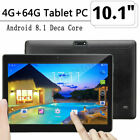 DE 10.1 ZOLL Tablet Android8.1 Bluetooth PC 4+64G ROM 2SIM GPS Phone Pad IPS