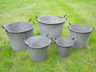 Large Round Galvanised Metal Bucket Planters Tub Plant Flower Pot Garden