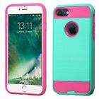 For Apple iPhone 7/7 Plus Brushed Metal HYBRID Rubber Case Phone Cover