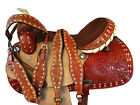AMAZINGLY TOOLED LEATHER PLEASURE SHOW HORSE TRAIL 15 16 WESTERN BARREL SADDLE