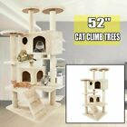 """52"""" Cat Tree Tower Condo Furniture Scratching Scratch Pet Kitty Play House Toy"""