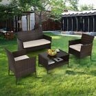 4 Pcs Outdoor Patio Garden Rattan Tea Table W/ Shelf Loveseat Sofa Furniture Set